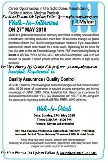 Mylan Laboratories Limited – Walk-In Interviews for Quality
